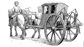 Ink drawing of horses and carriage from Georgian or Colonial era