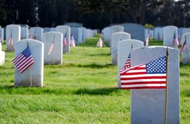 Photo of military graves with flags