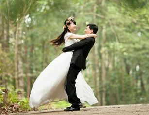 Picture of happy bride and groom