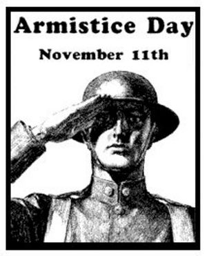 Old Poster from Armistice Day showing WWI soldier