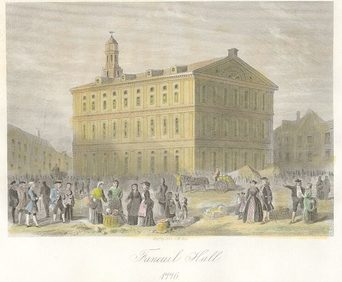 Painting of Faneuil Hall done in 1830