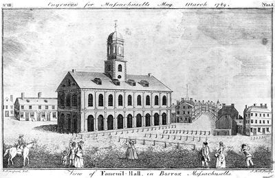 Ink sketch of Faneuil Hall in 1789