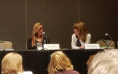 Picture of authors Jaci Burton and Jill Shalvis at RWA conference for romance writers
