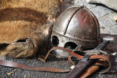 Picture of medieval helmet and sword