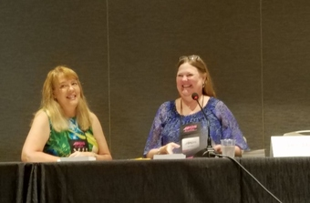 Picture of authors Leslie Kelly and Dee Davis at RWA conference for romance writers