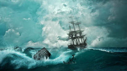 Picture of sailing ship in rough seas