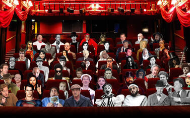 Movie theater with famous movie characters in the seats