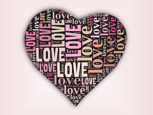 Picture of heart with word love many times