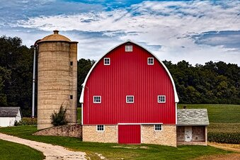 Picture of red barn and silo