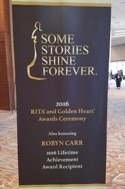 Picture of sign announcing the gala awards ceremony for RITA and Golden Heart finalists